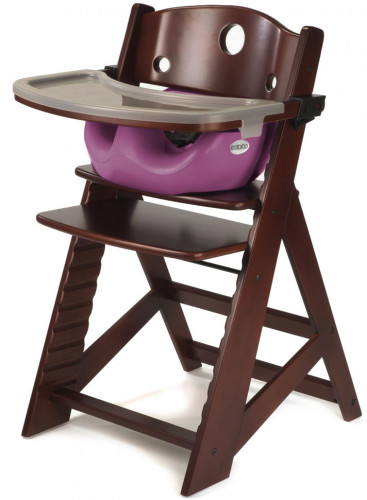 Keekaroo Height Right High Chair & Infant Insert - Mahogany / Raspberry