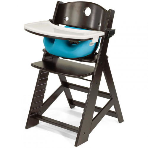 Keekaroo Height Right High Chair & Infant Insert - Espresso/Aqua
