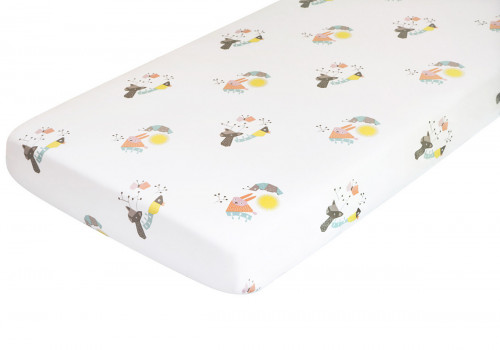 Nursery Works Menagerie Organic Cotton Percale Sheet - Forest Animals