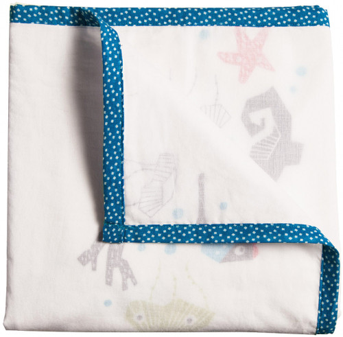 Nursery Works Oceanography 3-Layer Organic Muslin Blanket - Sea Animals