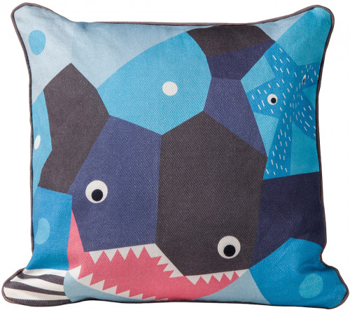 Nursery Works Oceanography Cubist Print Toddler Pillow - Shark
