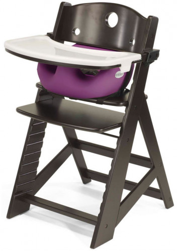 Keekaroo Height Right High Chair & Infant Insert - Espresso / Raspberry