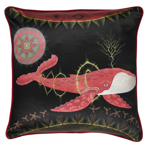 Klaus Haapaniemi Cosmic Whale Red Planet Silk Large Throw Pillow