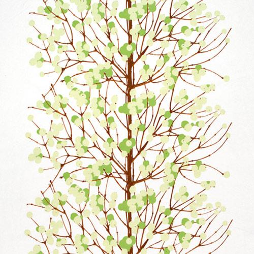 Marimekko Lumimarja White / Green Cotton Fabric