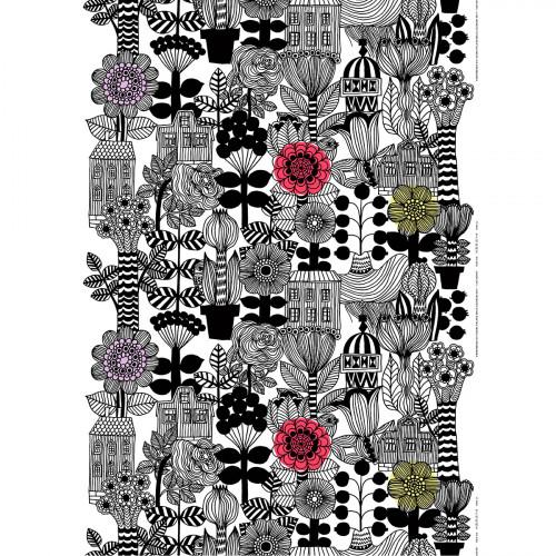 Marimekko Lintukoto White / Black / Yellow Fabric