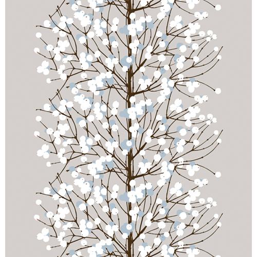 Marimekko Lumimarja Grey / Blue Acrylic-coated Cotton Fabric