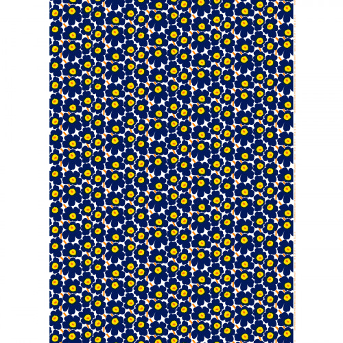 Marimekko Mini-Unikko Indigo / Yellow Fabric