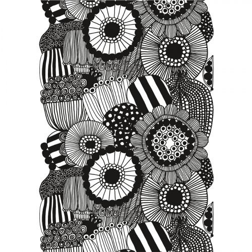 Marimekko Siirtolapuutarha White / Black Cotton Fabric Repeat