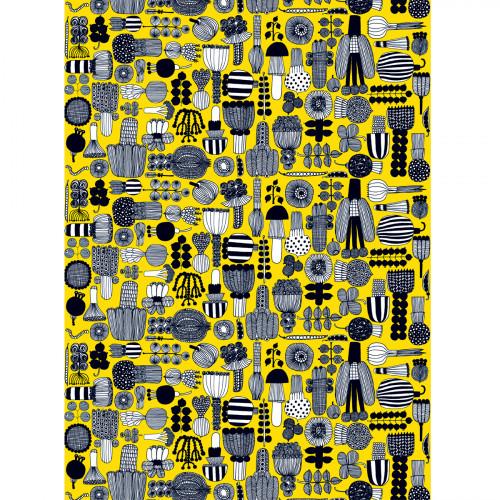 Marimekko Puutarhurin Yellow / Black Cotton Fabric