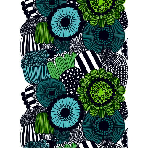 Marimekko Siirtolapuutarha Turquoise/Green Fabric Repeat