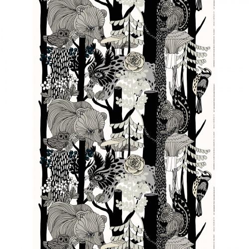 Marimekko Veljekset Finland 100 White / Black Fabric Repeat