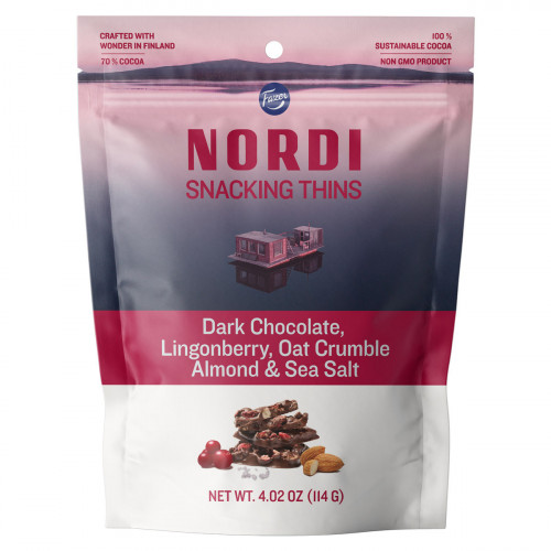 Fazer Nordi Dark Chocolate Lingonberry, Oat Crumble Almond, & Sea Salt Snacking Thins