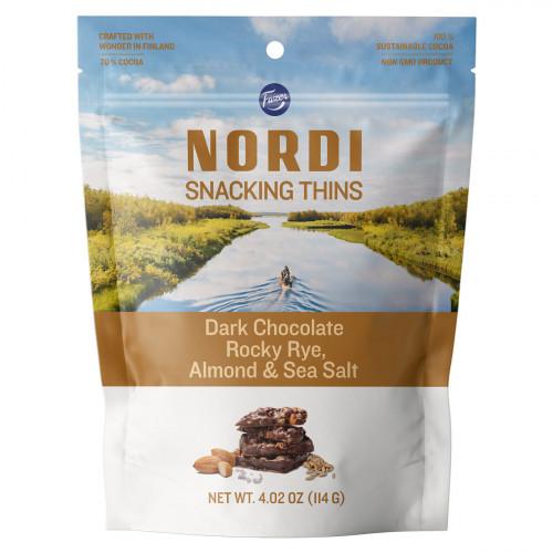 Fazer Nordi Dark Chocolate Rocky Rye, Almond, & Sea Salt Snacking Thins