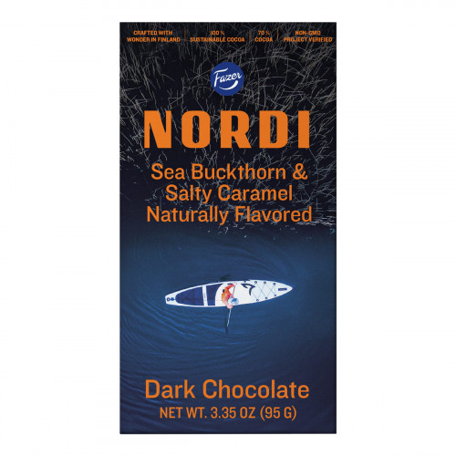 Fazer Nordi Sea Buckthorn & Salty Caramel Dark Chocolate Bar