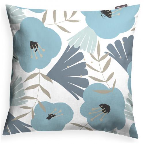 Finlayson Anni White / Turquoise Throw Pillow