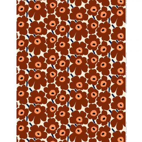 Marimekko Pieni Unikko Brown / Beige / Navy Acrylic-Coated Cotton Fabric