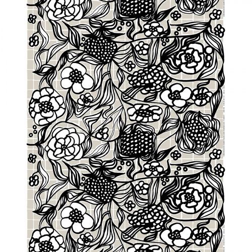 Marimekko Floristi Grey / Black / White Acrylic-Coated Cotton Fabric Repeat