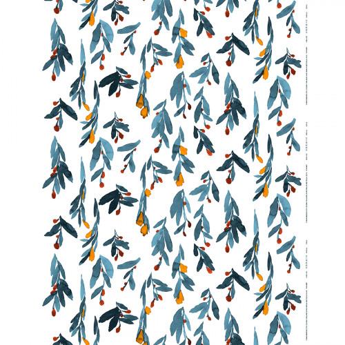 Marimekko Hyhma White / Blue / Orange Fabric