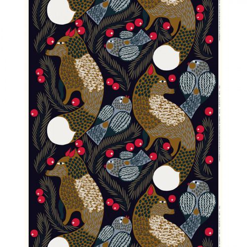 Marimekko Ketunmarja Navy Acrylic-Coated Cotton Fabric Repeat