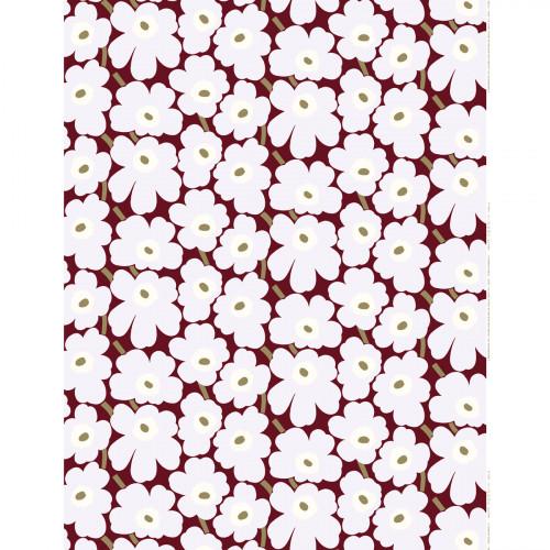 Marimekko Pieni Unikko Burgundy / Grey / Olive Fabric