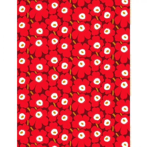 Marimekko Pieni Unikko Red / Brown Fabric