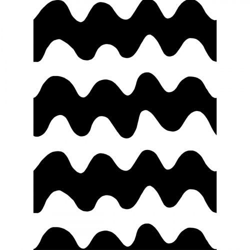 Marimekko White / Black Lokki Cotton Fabric