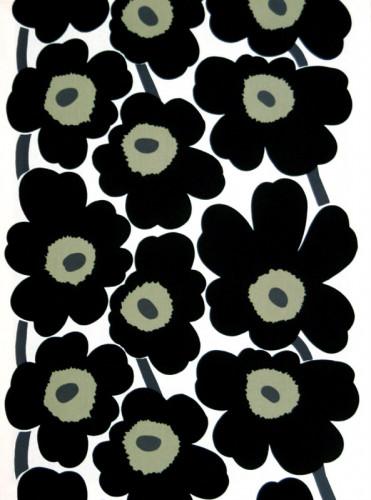 Marimekko Unikko White / Black Acrylic-coated Cotton Fabric