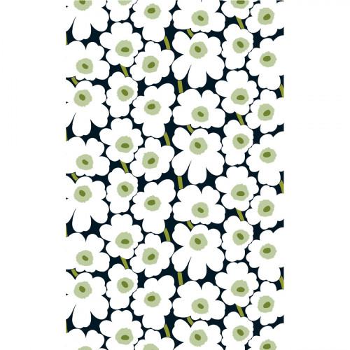 Marimekko Pieni Unikko Black / White / Green Cotton Fabric