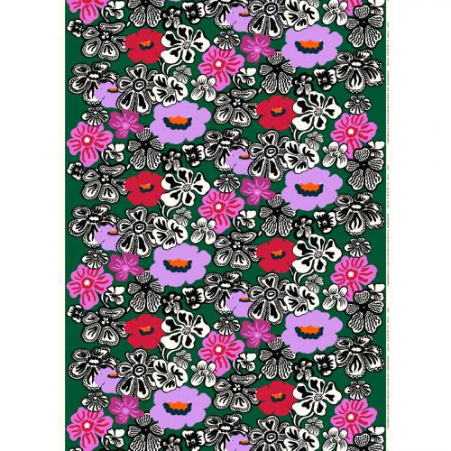 Marimekko Kaukokaipuu Green / Multi Acrylic-coated Cotton Fabric