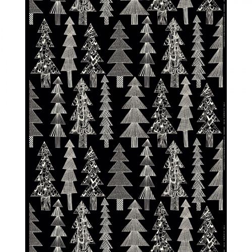 Marimekko Kuusikossa Black / White Acrylic-coated Cotton Fabric