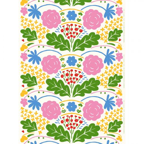 Marimekko Onni White / Multi Acrylic-coated Cotton Fabric