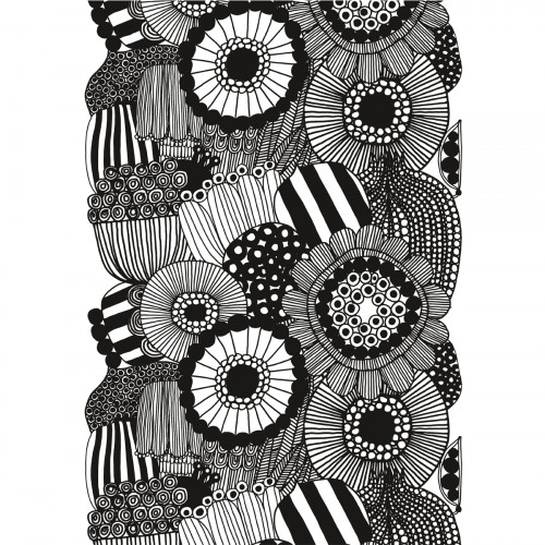 Marimekko Siirtolapuutarha White / Black Cotton Fabric Repeat