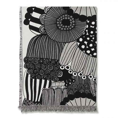 Marimekko Siirtolapuutarha Ecru / Black Blanket