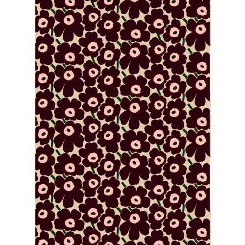 Marimekko Pieni Unikko Beige / Burgundy Fabric