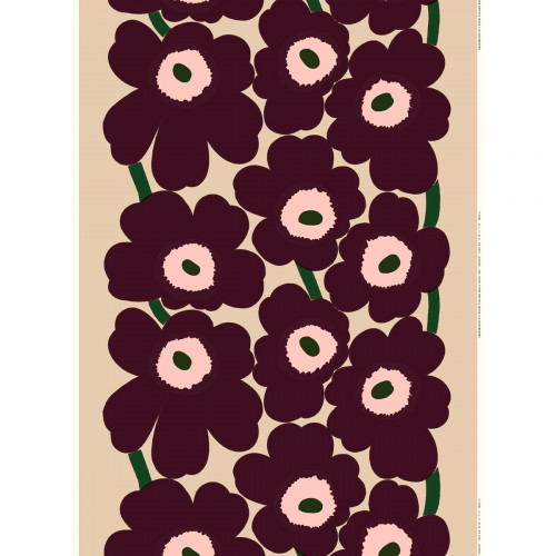 Marimekko Unikko Beige / Burgundy Cotton / Linen Fabric