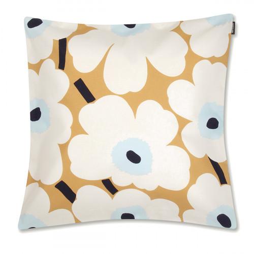 Marimekko Unikko Beige / Blue Large Throw Pillow