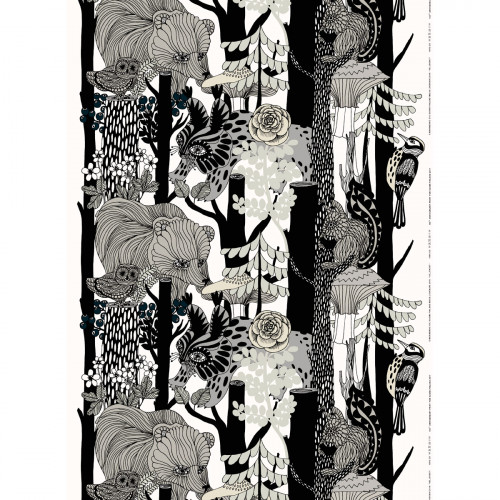 Marimekko Veljekset Finland 100 White / Black Fabric Repeat