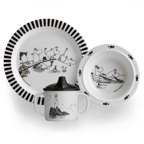 Moomin White / Black Children's Tableware Boxed Gift Set