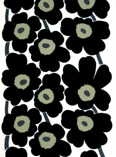 Marimekko Unikko White / Black Acrylic-coated Cotton Fabric