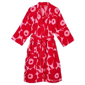 Marimekko Unikko Pink / Red Bathrobe