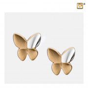 Butterfly with Crystal Two Tone Gold Vermeil Memorial Jewelry Stud Earrings