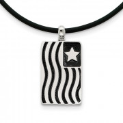 Waves Of Pride Flag Sterling Antiqued Silver Memorial Jewelry Pendant