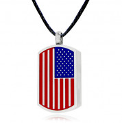 American Flag Stainless Steel Cremation Jewelry Pendant Necklace
