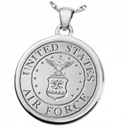 Military Fingerprint Round Sterling Silver Memorial Cremation Pendant Necklace