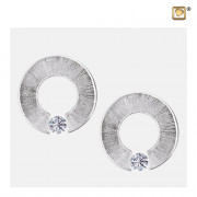 Omega with Crystal Two Tone Rhodium Plated Sterling Silver Memorial Jewelry Stud Earrings