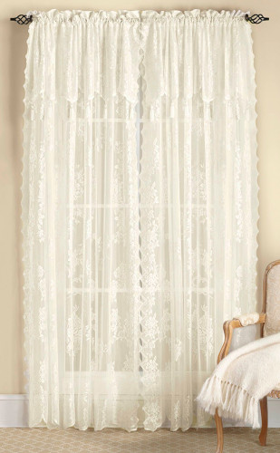 Carly Lace Curtain Panel With Attached