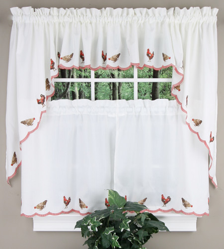 Rooster Kitchen Curtain Embroidered Pair Crimson Rhf Tiers Swags