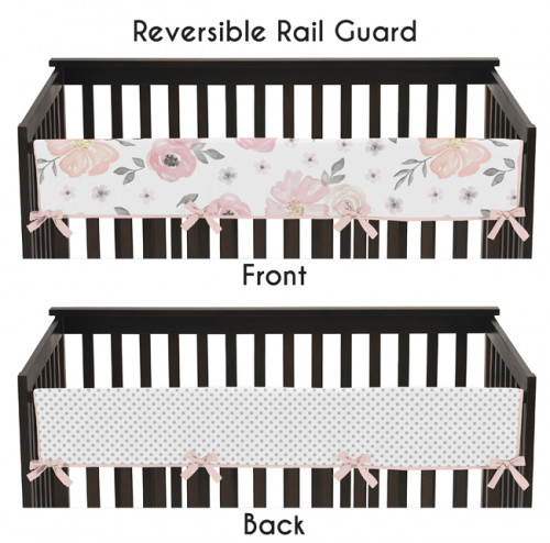 Watercolor Floral Pink And Grey Collection Long Rail Guard Cover