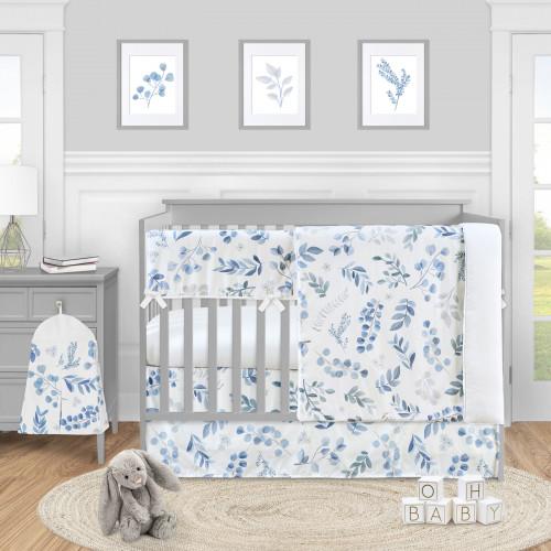 Botanical Blue Collection 5 Piece Crib Bedding