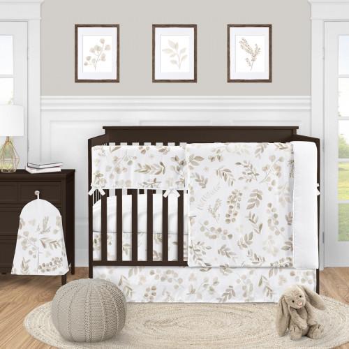 Botanical Taupe Collection 5 Piece Crib Bedding